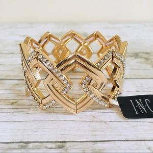 INC Stretchable Bracelet Gold / Clear Rhinestones